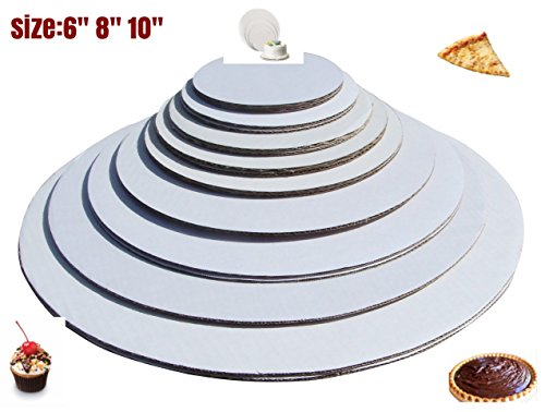 Cake Board Circle Sturdy White Corrugated Cardboard,good for Cake Pizza and Pie and more 100% Food Safe (6