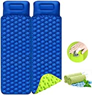 Portin Camping Sleeping Pad with Pillow Air Sleeping Mat Portable Comfortable Inflatable Outdoor Foldable Back