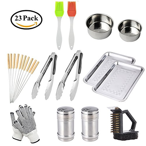 BBQ Grill Tools Set with 23 Barbecue Accessories -2 Oil Brus