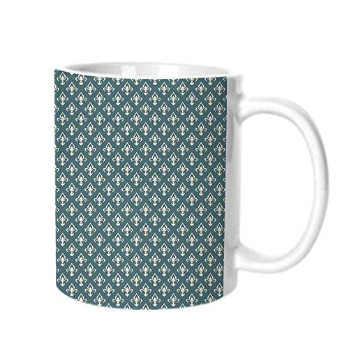 - Fleur De Lis Fashion Coffee Cup,Ancestral Vintage Motif Pattern Classical Ornaments Victorian Inspired For office,One size