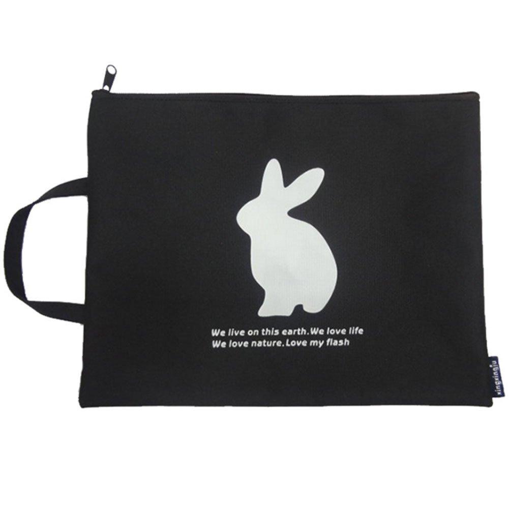 Creative Document Holder File Bag Stationery Zipper Bag Pouch, Black