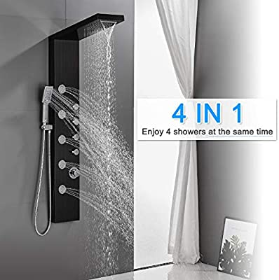 Rovogo Shower Panel Tower With Rainfall Waterfall Shower Head 5 Body Jets And 3 Function Handheld Shower Head Stainless Steel Rain Massage System Wall Mount Complete Shower Column Black Amazon Com