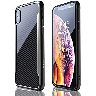 iPhone Xs Max Case | Shockproof | 12ft. Drop Tested | Carbon Fiber Case | Wireless Charging | Lightweight | Scratch Resistant | Compatible with Apple iPhone Xs Max - Black