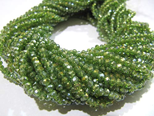 (Peridot Green Hydro Quartz Beads 3mm Rondelle Faceted Mystic Coated Beads 150 Beads)