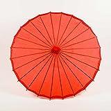 Quasimoon PaperLanternStore.com 32 Inch Red Parasol Umbrella, Premium Nylon