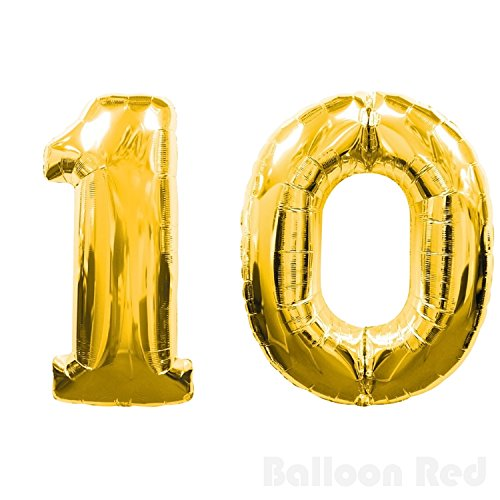 40 Inch Giant Jumbo Helium Foil Mylar Balloons (Premium Quality), Glossy Gold, Number 10 - 10 Balloons