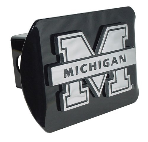 Michigan Wolverines Black Metal Trailer Hitch Cover Chrome Metal with NCAA Logo Fits 2