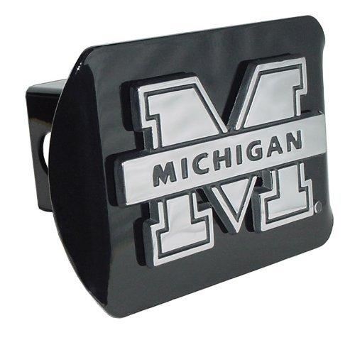 Michigan Wolverines Black Metal Trailer Hitch Cover Chrome M