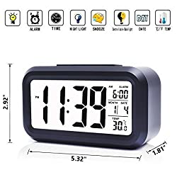 iProtect Battery Powered Digital Alarm Clock with Extra Large Display, Snooze, Date, Temperature and Light Sensor in Black