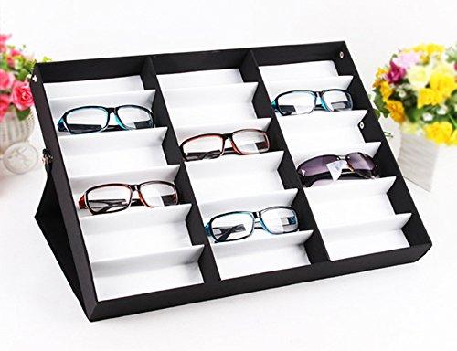 Homdox Sunglass Display Case Watches Jewelry Storage Holder 18 Grid Eyewear Display Case, - Frames Types Eyewear Of