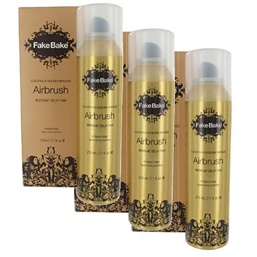 Fake Bake Airbrush Tan (Fake Bake Instant Self-Tanning Spray Air Brush Self Tanning Products (7 oz - Set of)