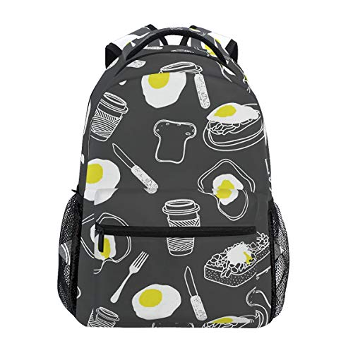 MAHU Backpack Breakfast Coffee Egg Food Pattern Adults School Bag Casual College Bag Travel Zipper Bookbag Hiking Shoulder Daypack for Women Men
