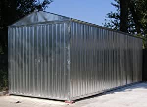 Box Caseta de chapa galvanizada con estructura de acero galvanizado MT. 8,50x 2,60x 2,11H con puerta a dos puertas Mod. sapilbox