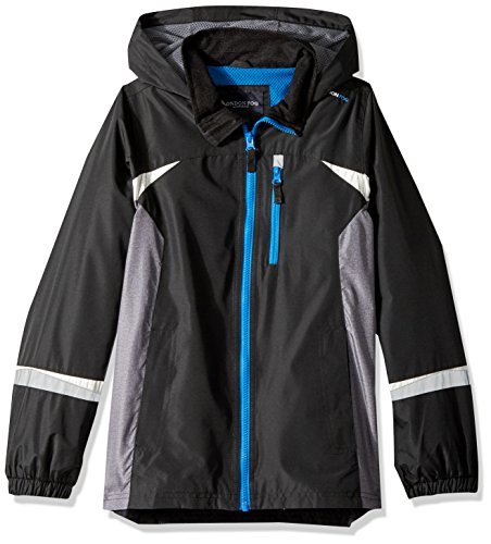 London Fog Big Boys' Colorblocked Jacket, Bold Black, 14/16