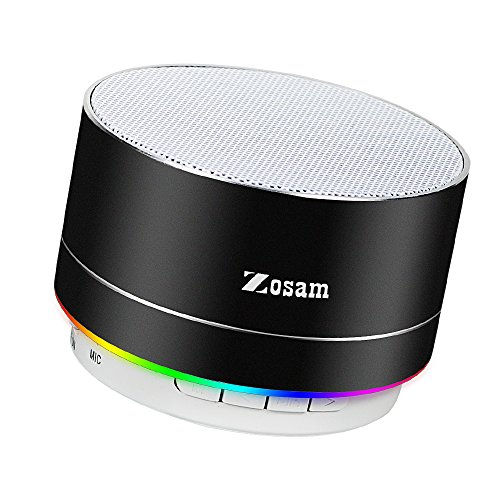 Zosam Mini Wireless Speaker, Portable Bluetooth Speaker with HD Sound, 4H Play-time, Built-in Mic, TF Card Slot, FM and LED Lights for Home, Travel