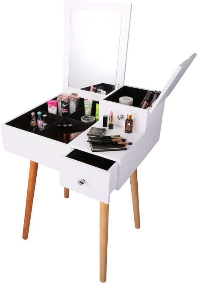 Vanity Desk with Flip Top Mirror and Tool Set Dressing Table Makeup Desk Large Storage Capacity Work and Study Writing Table Bedroom Furniture
