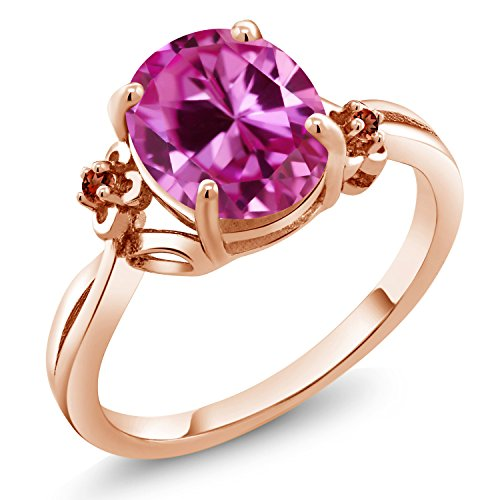 3.29 Ct Oval Pink Created Sapphire Red Garnet 18K Rose Gold Plated Silver (Garnet Pink Sapphire)