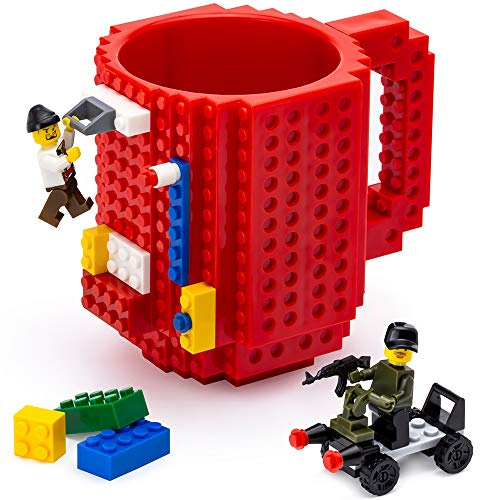 TOYAMBA Build-on Brick Mug - (Red) Funny Coffee Mug with Building Bricks, Funny Cups for Kids - Creative Building Block Mug DIY Gift Idea