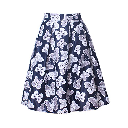 Wellwits Womens Vintage flare Butterfly