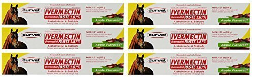 Ivermectin Paste Dewormer - 6.08g dose @ 1.87% Apple Flavor (6-Pack) by Durvet