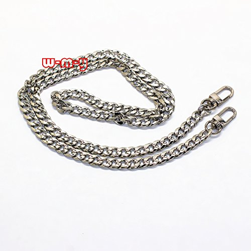 """M-W 39.4"""" DIY Iron Flat Chain Strap Handbag Chains Accessories Purse Straps Shoulder Cross Body Replacement Straps, with Metal Buckles Style1 (Silver)"""