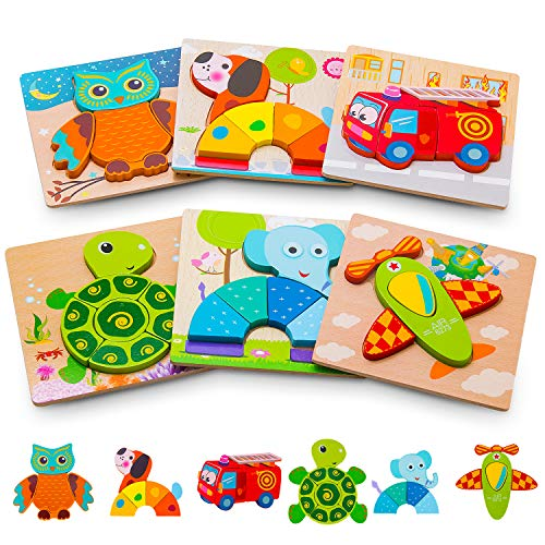 Toddler Puzzles, Puzzles for 2 Year Old Animals & Vehicle Puzzles for 1 2 3 Year Old Girls Boys Toddlers, Educational Preschool Toys Gifts for Colors & Shapes Cognition Skill Learning