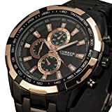 Men's Black Dial Rose Gold Bezel Quartz Analog Clock Sport Stainless Steel Black Wrist Watch
