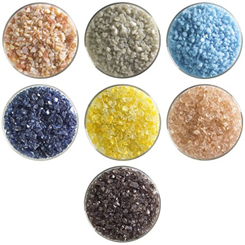 Boardwalk Designer Fusible Glass Coarse Frit Collection - 7 Colors, 90 COE, Bullseye Glass Sampler Pack