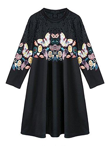 Jollychic - Vestido - Túnica - manga 3/4 - para mujer negro