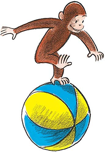 9 Inch Curious George Beach Ball Decal Classic Storybook Monkey Removable Peel Self Stick Wall Sticker Art (Decoration for Walls Laptop Yeti Tumbler) Nursery Bedroom Home Decor 5 1/2 x 9 inch