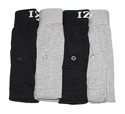 (IZOD Mens Cotton Knit Boxers 4-Pack, Black/Grey, XX-Large)