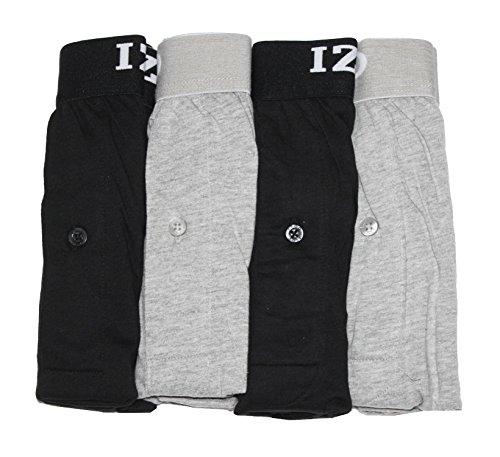 Izod Mens Boxer Cotton Knit 4 Pack (Large, Black/Grey)