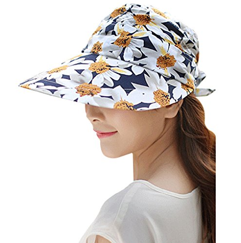 KINGSEVEN Women's Wide Brim Visor Cap Summer UV Protection Thin Hat 2 in 1 Beach Sun Hat (Navy)