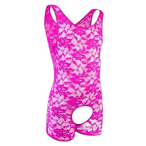 ROLYPOBI Womens Underwear Cotton Bra Extender Mens Lingerie Lace Straps Mankini One-Piece V Sling Stretch Singlet Bodysuit