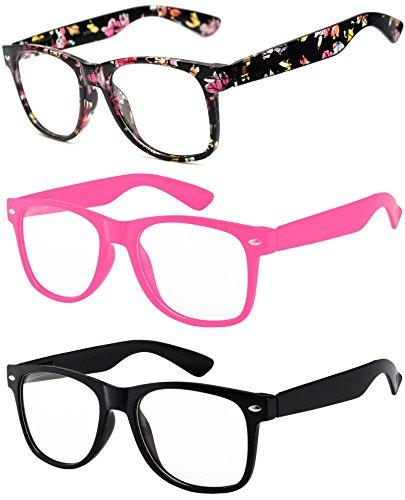 3 Pack Kids Clear Lens Glasses Flowers Black Baby Pink Black Matte