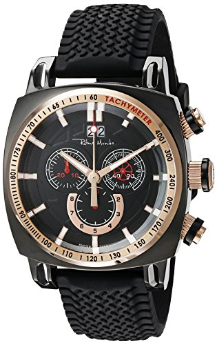 Ritmo Mundo Men's 2221/7 Black Rose Gold Racer Analog Display Swiss Quartz Black Watch
