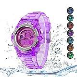 Kids Watches Outdoor Sports Children Watch Stopwatch Quartz Watch Boy Girls 7 Colors LED Digital Alarm Watch