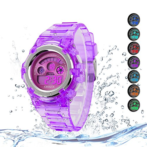Kids Watches Outdoor Sports Children Watch Stopwatch Quartz Watches Boy Girls 7 Colors LED Digital Watch
