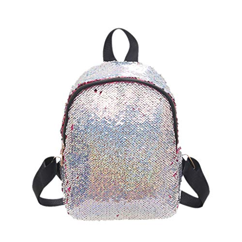 (Women Sequined Backpack  Fashion Zipper Wild Double Shoulder Small Square Bag Messenger Bag for Banquet, Sports, Travel)