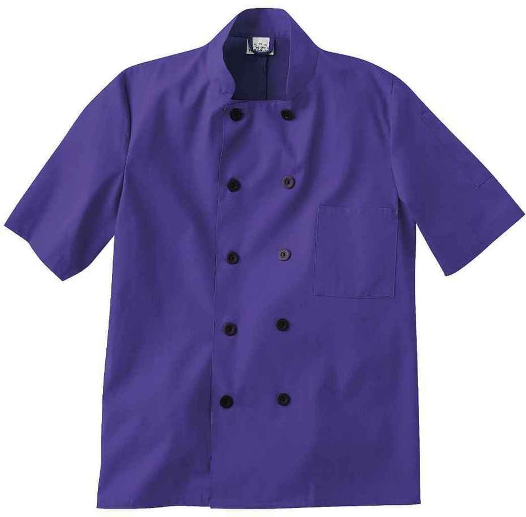 Five Star 18025 Unisex Short Sleeve Chef Jacket (Purple, X-Large)