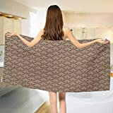 Chaneyhouse Antique,Bath Towel,Venetian Vintage Flowers with Swirling Lines Renaissance Revival Curvy Tile,Customized Bath Towels,Brown and Cocoa Size: W 19.5'' x L 39.5''