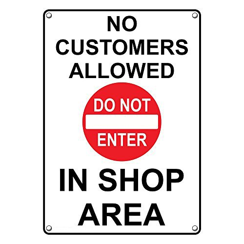 Weatherproof Plastic Vertical No Customers Allowed In Shop Area Sign with English Text and Symbol by SignJoker