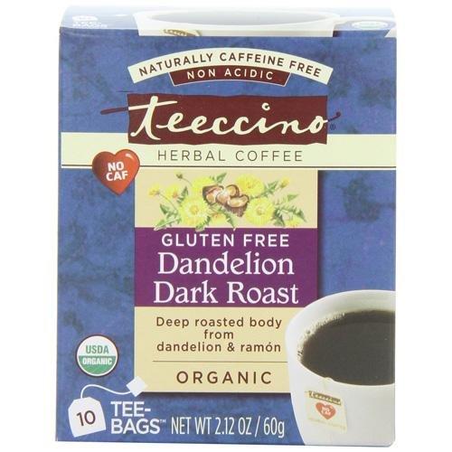Teeccino Coffee Tee Bags - Organic - Dandelion Dark Roast Herbal - 10 (Teeccino Dark Roast Herbal Coffee)