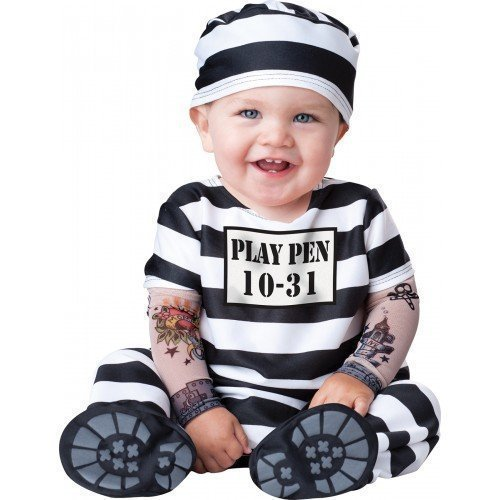 Convict Fancy Dress Costumes (Deluxe Baby Boys Girls Time Out Prisoner Convict In Character Halloween Fancy Dress Costume Outfit (12-18 months) by Fancy Me)