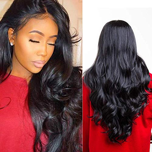 28 inches (71cm) Long Black Wavy Hair Wig For Women, Upgraded 4