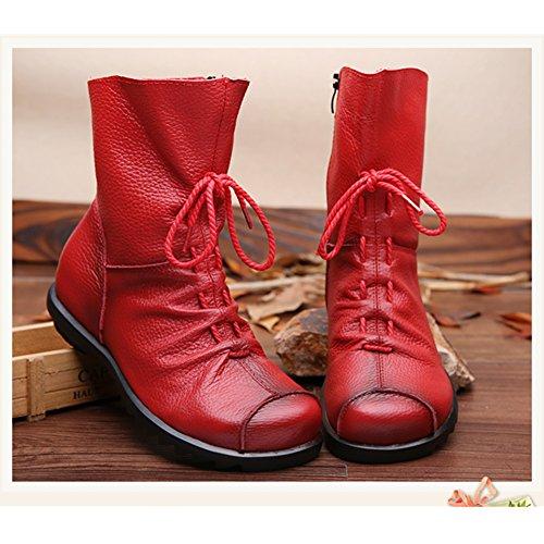 SAGUARO Damen Winter Stiefeletten Wasserdicht Weiches Leder Stiefel Damenstiefel Outdoor Leisure Winterstiefel Vintage Schuhe, Braun 38