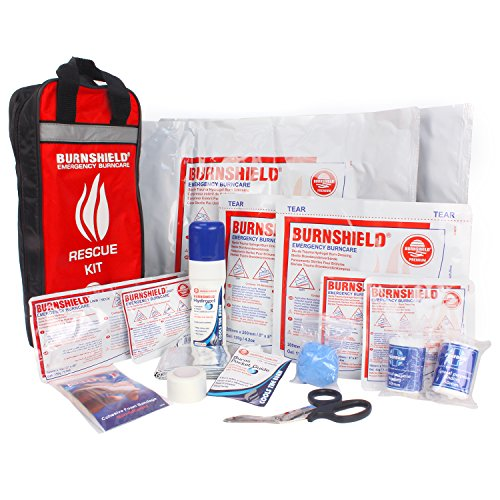 Burnshield Emergency Burn Kit & Nylon Bag with Bandages, Scissor, and Tape by Burnshield