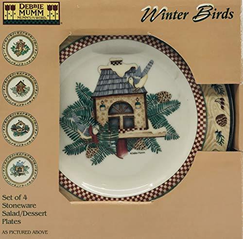 Debbie Mumm Sakura Winter Birds Salad/Dessert Plates (4)