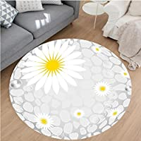 Nalahome Modern Flannel Microfiber Non-Slip Machine Washable Round Area Rug-llow Hawaiian Island Flowers on Abstract Animal Print Theme Backdrop White and Light Grey area rugs Home Decor-Round 75