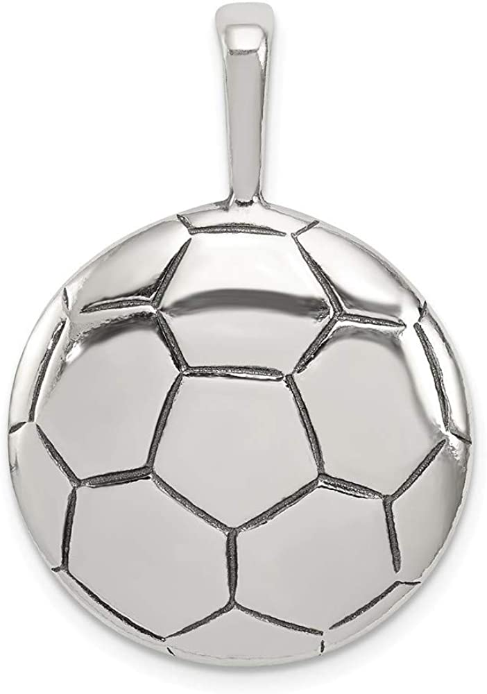 925 Sterling Silver Solid Concave finish Soccer Ball Pendant Necklace Jewelry Gifts for Women